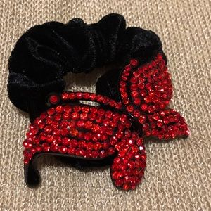red bedazzled butterfly scrunchie